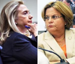 La Secretaria de Estado norteamericana Hillary Rodham Clinton y la congresiata cubana-americana Ileana Ross